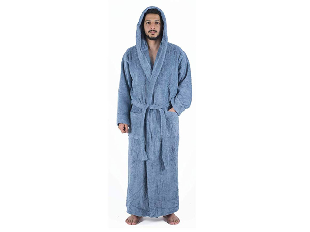 Arvec Men's Combed Turkish Cotton Terry Full Ankle Length Hooded Bathrobe