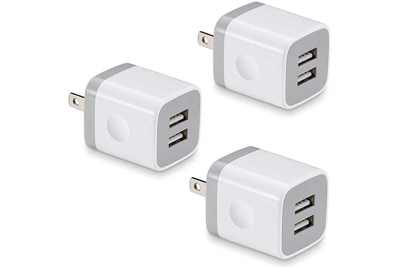 BEST4ONE 3-Pack 2.1A/5V Dual Port USB Plug Power Adapter Charging Block Cube