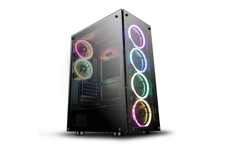 DarkFlash Phantom Black ATX Mid-Tower Desktop Computer Gaming Case