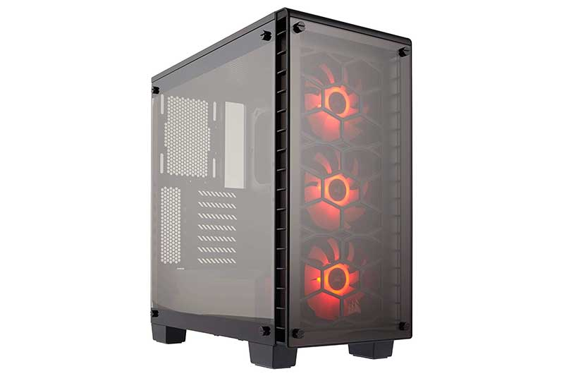 CORSAIR Crystal 460X RGB Compact Mid-Tower Case, 3 RGB Fans, Tempered Glass
