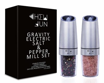 CHEW FUN Gravity Electric Salt and Pepper Grinder Set with Blue LED Light TOP 10 BEST GRAVITY LIGHTS IN 2021 REVIEWS