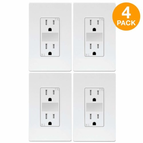 TOPGREENER LED Guide Light Receptacle, Automatic Night/Day Sensor Decorator Duplex Outlet Combination, 125VAC/15A Tamper-Resistant Receptacle, White Screwless Wall Plate Included, TG215TRGL (4 Pack) Top 10 Best snappower guidelight in 2018 Reviews