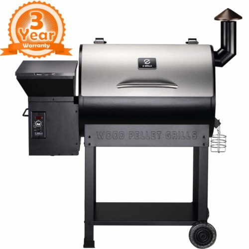 Z GRILLS ZPG-7002ENC 2021 New Model Wood Pellet Grill & Smoker, 8 in 1 BBQ Grill Auto Temperature Control, 700 sq inch Cooking Area, Silver NO Cover