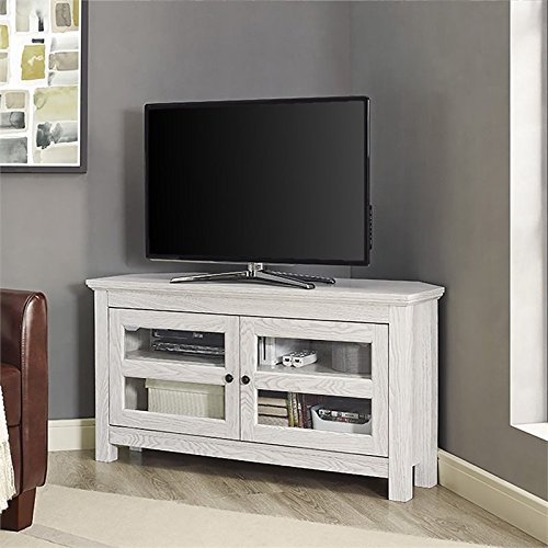 "Pemberly Row 44"" Corner TV Stand in White Wash"