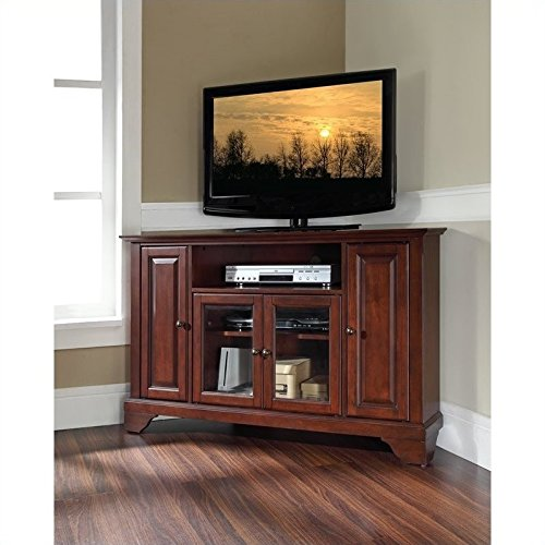 "Pemberly Row 48"" Corner TV Stand in Vintage Mahogany"