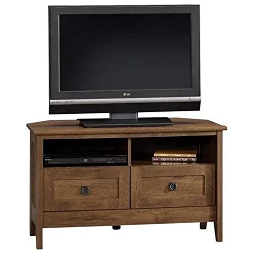 Pemberly Row Corner TV Stand in Oiled Oak