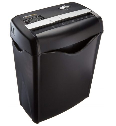 1. AmazonBasics 6-Sheet Cross-Cut Paper and Credit Card Home Office Shredder