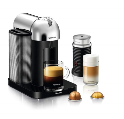 10. Nespresso Vertuo Coffee and Espresso Machine Bundle with Aeroccino Milk Frother by Breville, Chrome