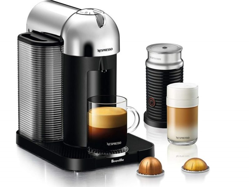 10. Nespresso Vertuo Coffee and Espresso Machine Bundle with Aeroccino Milk Frother by Breville, Chrome