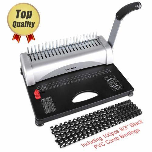 10. YoWin Binding Machine, 450 Sheet 21 Hole Comb Binding Machine with Starter Kit 100 PCS