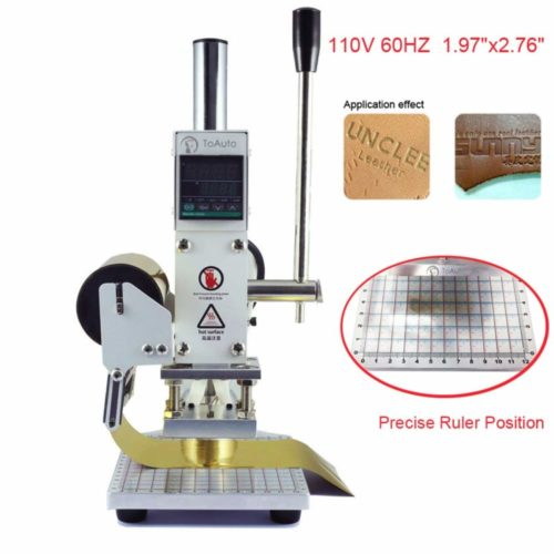 3. Hot Foil Stamping Machine 5 x 7cm Tipper Stamper Bronzing Card Foil Logo Embossing for for PVC leather PU and Paper Stamping (110V)