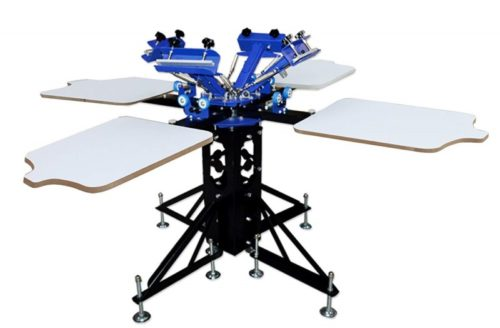 7. 4 Color 4 Station Silk Screen Printing Machine Press DIY T-Shirt Printer