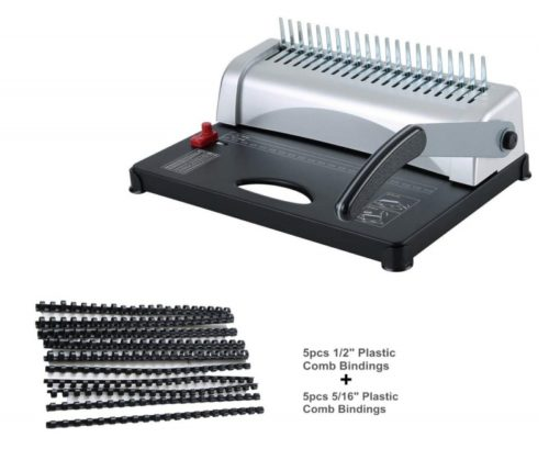 8. FLK Tech Binding Machine with Starter Combs Set - 21 Hole