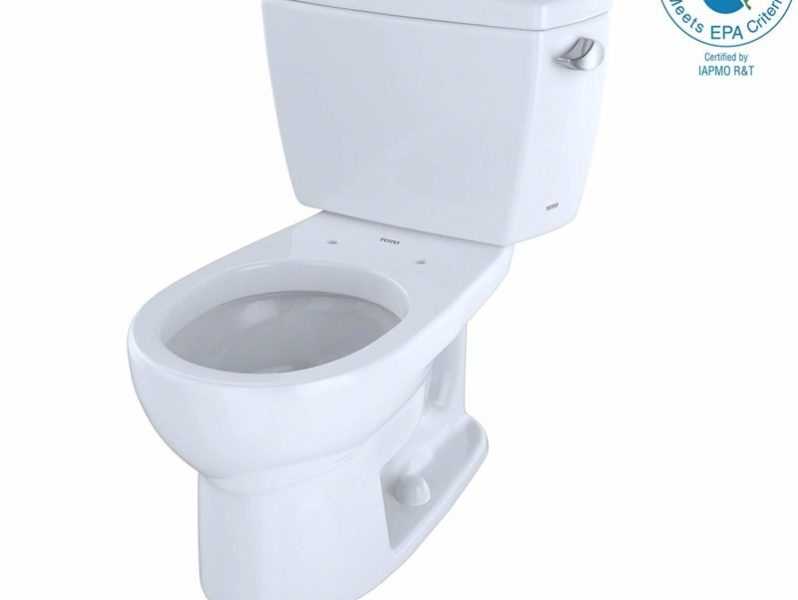 TOTO CST743ER#01 Eco#Drake Round Bowl Toilet with Right Hand Tank C743E + St743Er, Cotton White