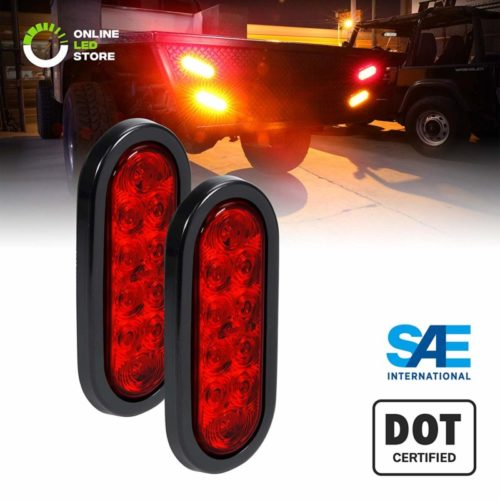 "2pc 6"" Oval Red LED Trailer Tail Lights [DOT Certified] [Grommet & Plug Included] [IP67 Waterproof] Turn Stop Brake Trailer Lights for RV Jeep Trucks"