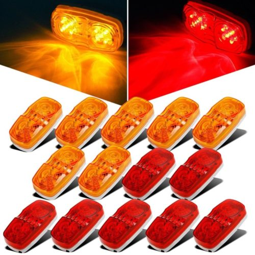 Partsam 14x Trailer Marker LED Light Double Bullseye 10 Diodes Clearance Light Red/Amber, 4x2 Tiger Eye/Double Bubble 12V Rectangular LED Side Marker Light Indicators Surface Mount RV Camper Trucks
