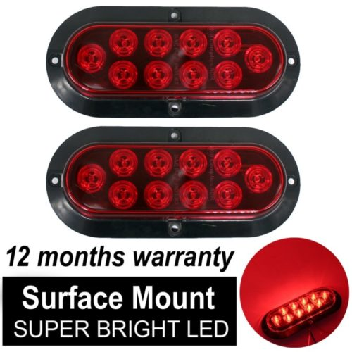 "TMH ( Pack of 2 ) 6"" 10 LED Surface Mount Oval Red Stop Brake Marker Tail LED Light, for Truck Trailer Trail Bus 12V DC"