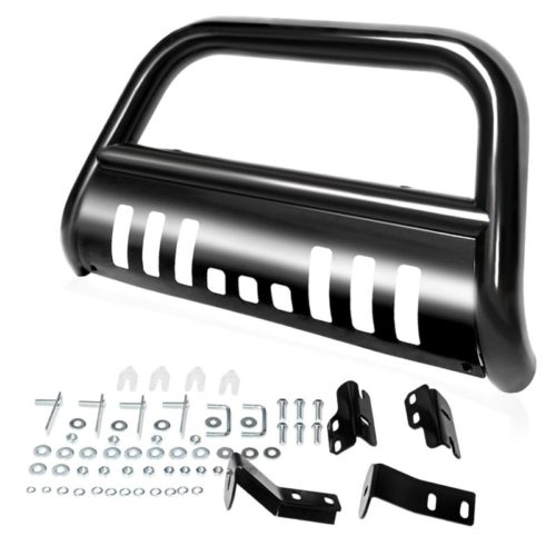 "AUTOSAVER88 Bull Bar Compatible for 04-18 Ford F150 Black HD Heavyduty 3"" Tube Brush Push Front Bumper Grill Grille Guard with Skid Plate Q235A"