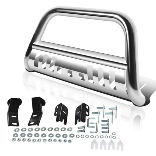 "AUTOSAVER88 Bull Bar Compatible for 04-18 Ford F150 Stainless Chrome Bull Bar 3"" Push Front Bumper Grill Grille Guard with Skid Plate"