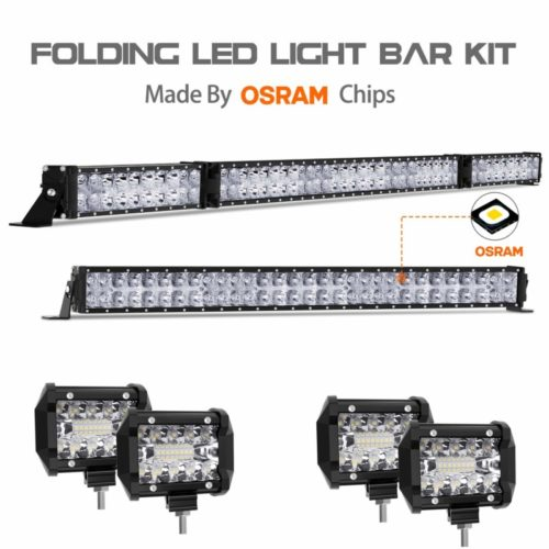 "LED Light Bar Kit, Autofeel 6000K OSRAM Chips 52 Inch + 32 Inch 35000LM Flood Spot Beam Combo White LED Light Bars + 4PCS 4"" LED Light Pods Combo Fit for Jeep Wrangler Ford Truck Boat"