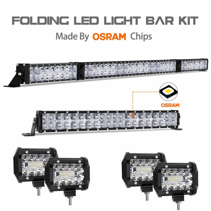 """LED Light Bar Kit, Autofeel OSRAM Chips 52 Inch + 22 Inch Flood 32000LM Spot Beam Combo White LED Light Bars + 4PCS 4"""" LED Light Pods Combo 6000K Fit for Jeep Wrangler Ford Truck Boat"""