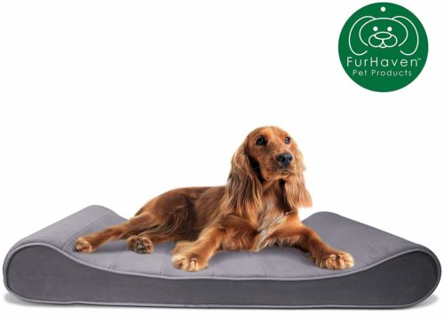 Furhaven Pet Dog Bed | Orthopedic Micro Velvet Ergonomic Luxe Lounger Cradle Mattress Contour Pet Bed