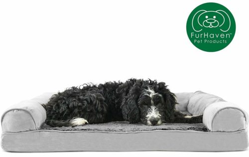 Furhaven Pet Dog Bed | Orthopedic Plush Faux Fur
