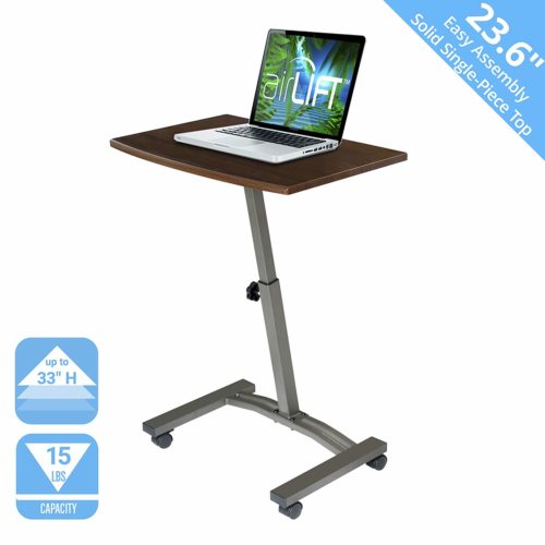 Seville Classics WEB162 Solid-Top Height Adjustable Mobile Laptop Desk Cart-Adjustable Laptop Stands