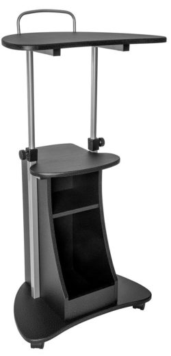 Techni Mobili RTA-B002-GPH06 Sit-to-Stand Rolling Adjustable Height Laptop Cart with Storage, Graphite