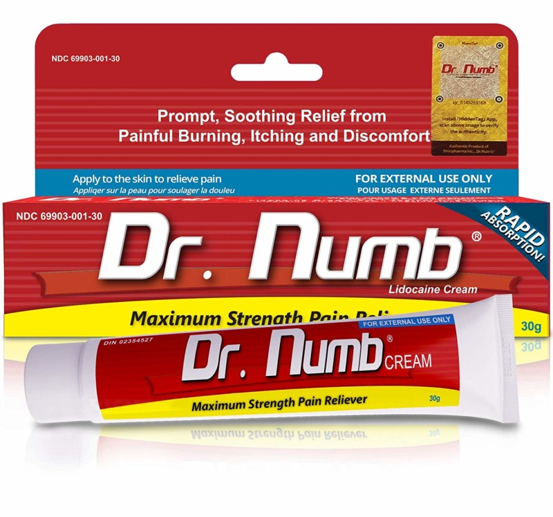 1 Tube of Dr. Numb Maximum Topical Anesthetic Anorectal Cream, Lidocaine 5% ~ Net Wt 1 Oz (30g)
