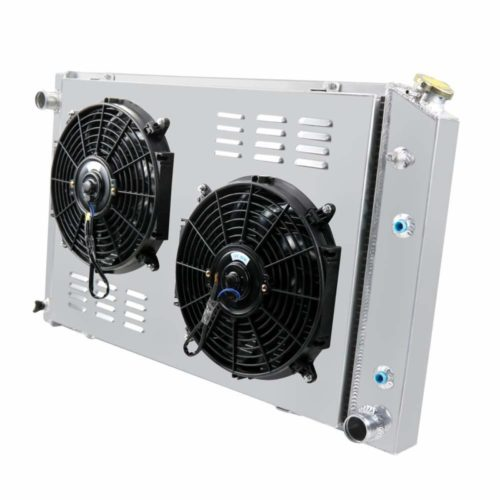 "Primecooling 56MM 3 Row Core Aluminum Radiator +2X12"" Fan +Shroud for Chevrolet GMC C/K Series Pickup & Trucks 1973-91"