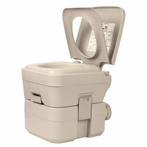 Portable Toilet for Camping Traveling Outdoor Activities 5.2 Gallon Flushable RV Boat Beach Wood Porta Potty for Adults and Kids
