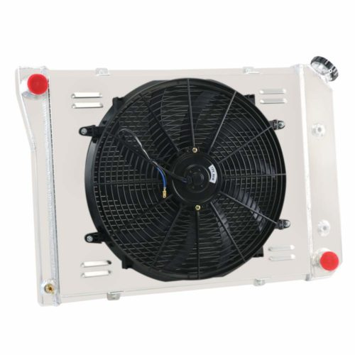 "OzCoolingParts 68-87 Chevy & Oldsmobile & Pontiac Radiator Fan Shroud Kit, 3 Row Core Aluminum Radiator + 16"" Fan w/Shroud for 1968-1987 69 70 71 72 73 74 75 Chevy Camaro Chevelle Nova and More Models"