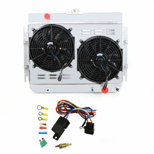 """OzCoolingParts 3 Row Core Full Aluminum Radiator + 2 x 12"""" Fan w/Louver Shroud + Thermostat Kit for 1963-1968 64 65 66 67 Chevy Bel-Air/Impala/Biscayne/Cappice, Many Chevy GM Cars TOP 10 BEST ALUMINUM RADIATORS IN 2021 REVIEWS"""