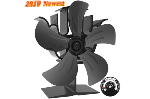 Sonyabecca 5 Blade Stove Fan Wood Stove Fans Fireplace Fan Heat Powered with Magnetic Thermometer Aluminium Eco-Friendly