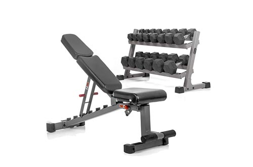 XMARK Heavy Duty 2 Tier Dumbbell Rack, Hex Dumbbell Set, and Adjustable Weight Lifting Bench