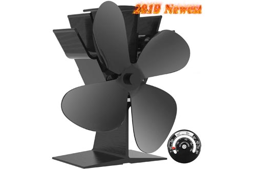Sonyabecca Heat Powered Stove Fan with Magnetic Thermometer 4 Blade Wood Stove Fans Aluminium Silent Eco-Friendly