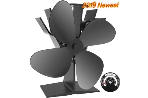 X-cosrack 4 Blade Wood Stove Fan Heat Powered Fireplace Fan with Magnetic Thermometer