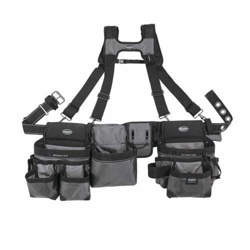 Bucket Boss Mullet Buster 3 Bag Tool Belt with Suspenders in Grey, 55135
