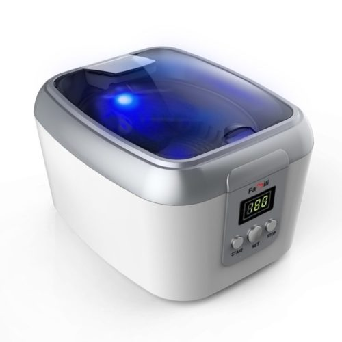 Famili FM8000WW Ultrasonic Polishing Jewelry Cleaner with Digital Timer for Cleaning Eyeglasses Rings, Dentures, Retainers, and Mouth Guards