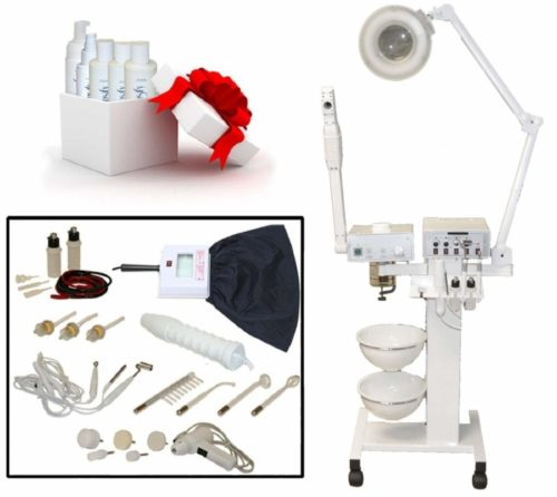 LCL Beauty 9-in-1 Facial Machine: Galvanic Current, High Frequency, Massage Brush, Vacuum Extractor, Spray Diffuser, Aromatherapy, Mag Lamp, Wood's Lamp