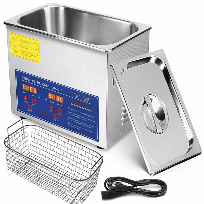 Mophorn 3L Ultrasonic Cleaner Ultrasonic Parts Cleaner Stainless Steel Professional Ultrasonic Jewelry Cleaner with Heater Timer(3L)