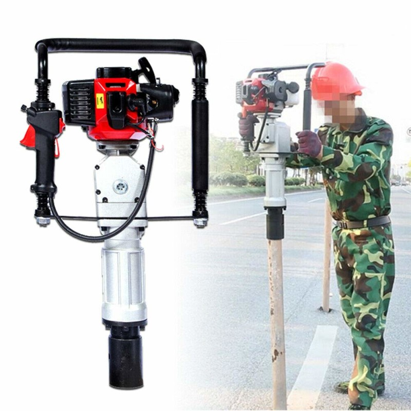 Gas Powered T Post Driver 52CC 2.3HP Pile Gasoline Engine Push Fence Farm Hammer Push Pile Lightweight Petrol Piledriv