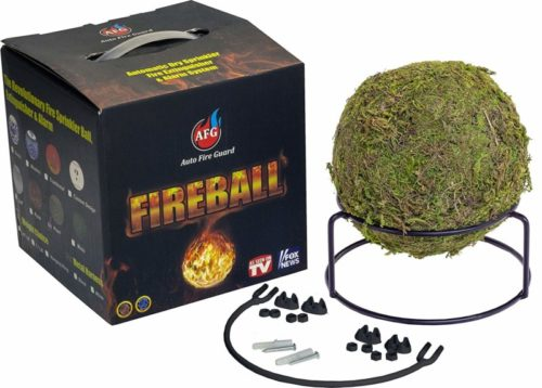 AFG Fireball Fire Extinguisher: Moss Fire Suppression Device with Mount and Sign