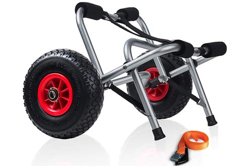 Kayak Dolly Wheels Trolley - Kayaking Accessories Best for Beach Tires Transport Canoe