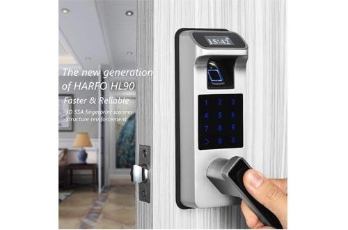 Fingerprint and Touchscreen Keyless Smart Lever Door Lock for Office Home