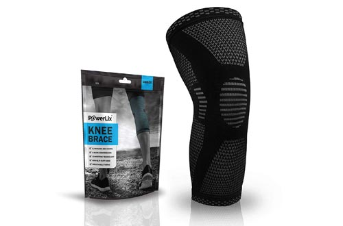 POWERLIX Knee Compression Sleeve - Best Knee Brace for Men & Women – Knee Support for Running, Basketball, Weightlifting, Gym, Workout, Sports .