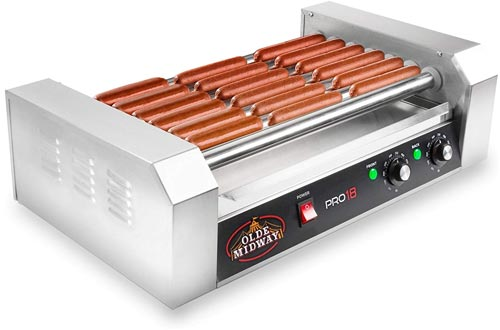 Olde Midway Electric 18 Hot Dog 7 Rollers Grill Cooker Machine 900-Watt - Commercial Grade