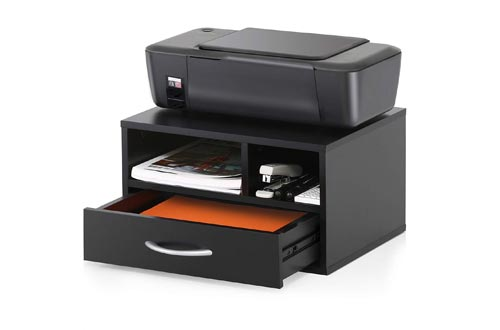 FITUEYES Wood Printer Stands with Drawer,Workspace Desk Organizers for Home & Office,Black,DO304002WB