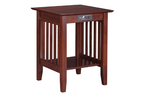 Atlantic Furniture AH10234 Mission Printer Stands with Charging Station, Walnut